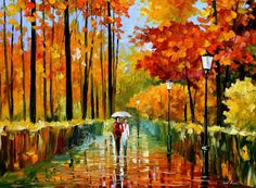 Modern Art For Home Figurative Oil Painting On Canvas By Leonid Afremov - Autumn Rain