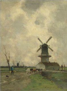 Johan Hendrik WEISSENBRUCH (1824-1903, Dutch painter): The Mill
