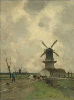 Johan Hendrik WEISSENBRUCH (Nederlands kunstenaar, 1824-1903): The Mill