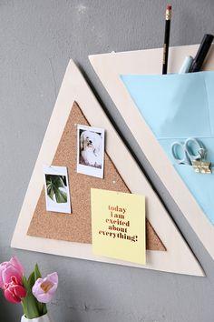 DIY-Dreiecks-Organizer fürs Arbeitszimmer aus Holz