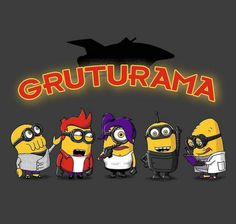 This is what happens when you are your own grandfather :)  This Futurama x Despicable Me mashup art (from 2mz on Qwertee) was so entertaining, they put it on a shirt!  Featuring the intrepid Planet Express crew (and ship) as those little balls of hyperactive yellow energy we all know and love: the minions.  Includes Zoidberg, Fry, Leela, Bender and the Professor.  Just a funny little Futurama (I mean Gruturama) joke, to brighten your day.  Enjoy :)