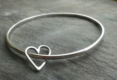 www.heartsofbrass.co.uk £16.99 Handmade sterling silver heart bangle – hearts of brass