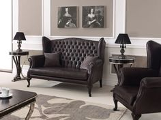 ENGLISH STYLE HIGH WING BACK TWO SEAT TUFTED UPHOLSTERY BESPOKE SOFA