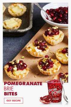 45 minutes · Vegetarian · Serves 15 · Pomegranate Brie Bites Recipe:  These tasty, savory bites feature brie, pomegranates, and flaky pastry to add antioxidant goodness to your appetizers. #recipes #appetizers #pomegranates #brie Finger Food Appetizers, Appetizer Recipes, Dessert Recipes, Holiday Appetizers, Candy Recipes, Thanksgiving Recipes, Holiday Recipes, Tapas, Pomegranate Recipes