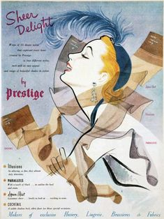 Vintage ad for Sheer Delight Nylons from Prestige. Vintage Stockings, Stockings Lingerie, Nylon Stockings, Vintage Advertisements, Vintage Ads, Vintage Photos, Nylons, Retro Fashion, Vintage Fashion