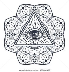 Vintage All Seeing Eye in Triangle and Mandala. Providence magic symbol for print, tattoo, coloring book,fabric, t-shirt, cloth in boho style. Astrology, occult, tribal, esoteric, alchemy sign. Vector
