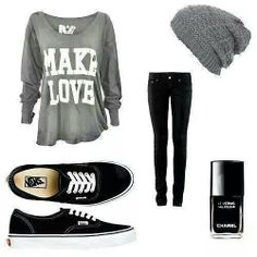 Black and grey outfit 'make love' top and beanie. Adorable :)