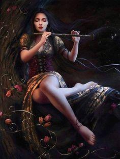 Musica Fantasy Women, Fantasy Art, Fantasy Characters, Female Characters, Cris Ortega, Melanie Delon, Indian Art Paintings, Indian Women Painting, Illustration