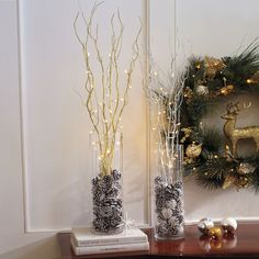 Set of 5 Cordless Pre-Lit Shimmer Branches with Timer Christmas Decorations, Table Decorations, Christmas Ideas, Indoor Outdoor Furniture, Branches, Home Furnishings, Flower Arrangements, Glass Vase, Candle Holders