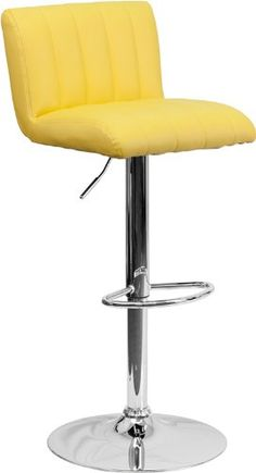 ComfortScape Contemporary Yellow Vinyl Adjustable Height Barstool with Chrome Base