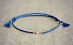 Talitha Braided Friendship Bracelet WITH Macrame Sliding Knots / Gold on Capri Blue Thread  / Choose your Colour