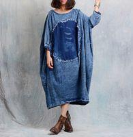Nueva llegada 2017 vintage denim dress desgaste de la calle patchwork casual dress, tamaño grande ropa de mujer moda loose dress sp304