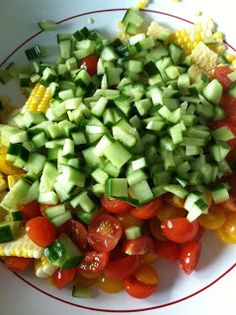 And What I Ate: Summer Salad - Corn, Avocado, Tomato, Feta, Cucumber & Red Onion with a Cilantro Vinaigrette
