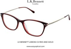 LK BENNETT LKB036 C2 RED AND GOLD Lk Bennett, Bond Street, Eyewear, Feminine, London, Glasses, Luxury, Stylish, Red