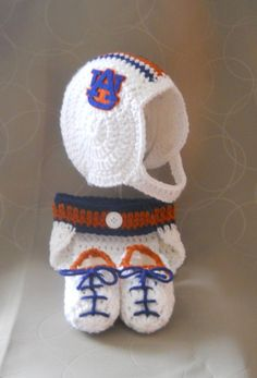 Auburn University Inspired Crochet Baby Football Helmet Hat, Diaper Cover, Tennis Shoe Booties Set -  Newborn, 0-3 Month 3-6 Month Sizes