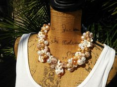 Now available in our store Pearl and Murano .... Check it out here: http://bling-beaded-baubles.myshopify.com/products/copy-of-bridal-freshwater-pearl-statement-necklace-handmade-chunky-bib-collar-twisted-wire-wrapped-necklace-1?utm_campaign=social_autopilot&utm_source=pin&utm_medium=pin