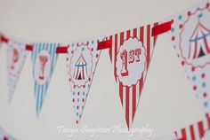 Circus Carnival Birthday Banner-with Name & Age -