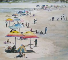 Beach Umbrellas; Watercolour; 25x25cm Beach Umbrella, Watercolours, Umbrellas, Watercolor Paintings, Wildlife, African, Birds, Water Colors, Bird