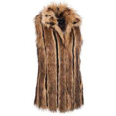 Black Rivet Vertical Pieced Fox FauxFur Vest ($330) ❤ liked on Polyvore featuring outerwear, vests, brown vest, pattern vest, faux fur vest, colorful vest and vest waistcoat