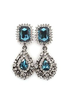 Delphine Crystal Earrings in Blue