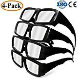#10: HYRIX 4-Pack Plastic Solar Eclipse Glasses Goggles Spectacles Cool Look solar Shades Adult Size CE and ISO Certified Mirror Lens Eyes Protection Safe Viewer Viewing Sun Filter ABS Black  4 Pack