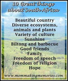10 Great things about South Africa - Mom Making Memories Freedom Of Religion, Freedom Of Speech, Making Memories, South Africa, Mom, Mothers
