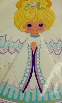 Vintage Hallmark Angel;  just looking at this makes me happy; definitely want to practice drawing her