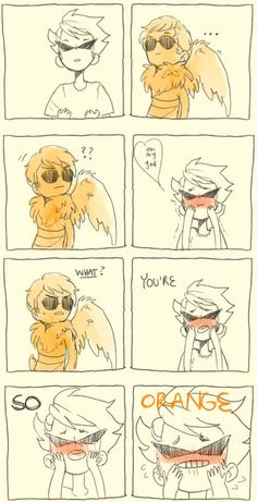 Davestprite and Dirk Strider from Homestuck. LOL 'He says caw sometimes' 'CAW CAW MOTHER FAWKER!'