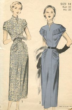 1940s Vintage Sewing Pattern Advance 5175 Elegant Misses Dart Fitted Slim Skirt Draped Hip Dress with Pleated Shoulder Detail Bust 32