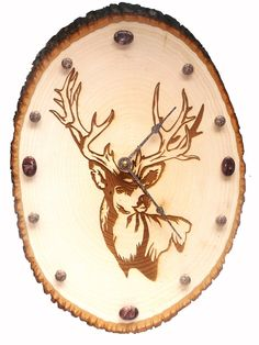 Handmade wood burned Deer Head clock with red picture jasper gemstones. $86.00, via Etsy.