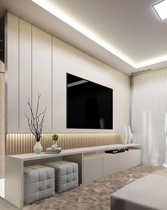 Different TV Background Wall Design Makes The Living Room Look High-end, Atmospheric and Superior - Lily Fashion Style Living Room Wall Units, Living Room Tv Unit Designs, Living Room Modern, Home Living Room, Modern Tv Room, Small Living, Living Room Decor Tv, Living Room Tv Cabinet, Modern Closet