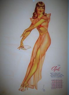 1946 APRIL Calendar Page Esquire Varga pin up PINUP girl World War II on Etsy $16.99 by pegi16