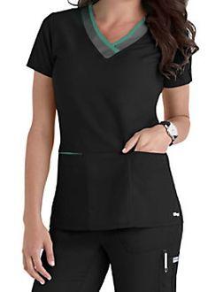 Greys Anatomy Color Block V-neck Scrub Tops Main Image small Scrubs Outfit, Scrubs Uniform, Greys Anatomy Shirts, Stylish Scrubs, Beauty Uniforms, Cute Scrubs, Medical Uniforms, Healthcare Uniforms, Womens Scrubs
