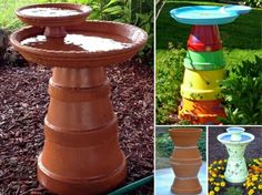 Make a brilliant Bird Bath using clay pot  #diy #home