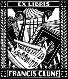 Artist: A. F. (nationality and life dates unknown)  Title: Ex Libris Francis Clune. No date.