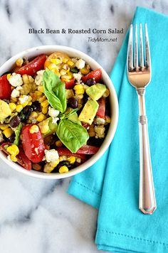 Black Bean & Roasted Corn Salad recipe at @Cheryl Sousan | Tidymom.net.net