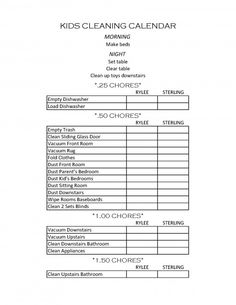 Kid's Chore Chart