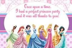 FREE Disney Princess Party Thank You Card