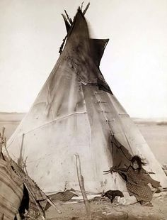 Girl in Front of Tipi — You are viewing a rare image of A young Oglala girl sitting in front of a tipi, with a puppy beside her, probably on or near Pine Ridge Reservation. It was taken in 1891 by Grabill, John C. H., photographer