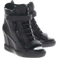 GIUSEPPE ZANOTTI Lorenz Birel Nero Leather sneaker wedges (550 AUD) ❤ liked on Polyvore featuring shoes, sneakers, sneaker wedge shoes, zip sneakers, leather shoes, zipper sneakers and leather wedge shoes