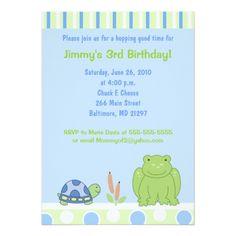 Friendly Frog & Turtle 5x7 Birthday Invitation