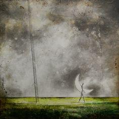 """Création de mai: """"Les nuits sans lune"""" 20 x 20 cm"""