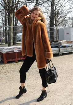 Cinnamon brown fur jacket