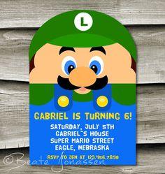 Personalized SUPER MARIO LUIGI Birthday Party Invite 4x6 or 5x7