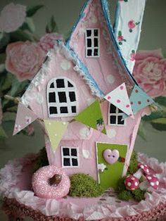 Cinderella Moments: Summer Fantasy Cottage Paper House Putz Style - great little frosted Putz house Pink Christmas, Christmas Home, Christmas Crafts, Christmas Decorations, Home Crafts, Crafts For Kids, Diy Crafts, Putz Houses, Doll Houses