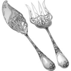 Puiforcat Rare French All Sterling Silver Fish Servers Two-Piece Iris Pattern 1 Sterling Silver Flatware, Sterling Silver Chains, Silver Rings, Vintage Silver, Antique Silver, Ring Design For Female, Art Nouveau Pattern, Vintage Tableware, Couple Jewelry