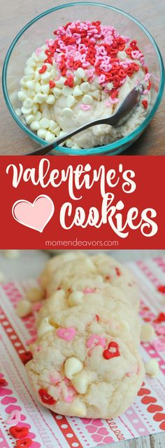 Easy White Chocolate Chip Valentine's Cookies (Really Cool Desserts) Valentines Baking, Valentines Day Cookies, Valentines Day Desserts, Holiday Desserts, Holiday Baking, Holiday Recipes, Birthday Cookies, Valentine Nails, Valentine Treats