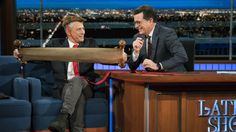 "Jon Stewart Makes Presidential Entrance on 'The Late Show'  Stewart appeared onstage dressed in a wig and comically long red tie: ""The president sets men's fashion. I saw the inauguration  super long tie dead animal on head. Boom.""  read more"