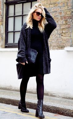 Black cardigan, black dress, black boots, winter style
