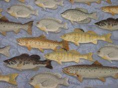 DeStash  2 yards Flannel  Fish with a Blue by tammystreasuretrove
